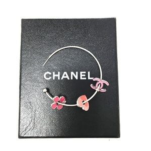 Authentic CHANEL Multi-Color Silver Hoops w/Charms